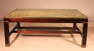 vintage coffee table with world map for