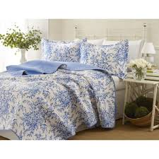 laura ashley 3 piece bedford blue reversible quilt set
