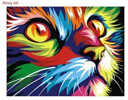 framed diy oil painting by numbers animal colorful cat hand painted creative picture coloring by numbers