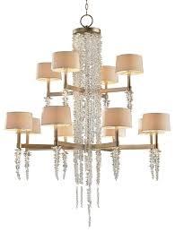 poole modern silver leaf crystal 2 tier waterfall chandelier