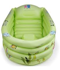 big thick green inflatable baby bath tub