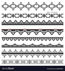 Set Of Black Straight Lace Lines Borders