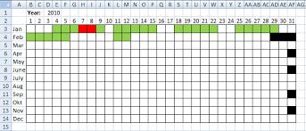 microsoft excel calendar visualize date ranges in a calendar