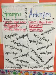 Chart Synonym Synonym And Antonym Anchor Chart Synonyms Anchor Chart
