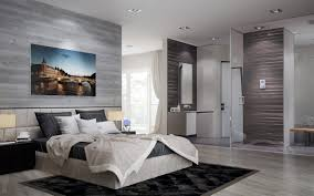 modern bedroom with bathroom. Open Plan Ensuite Bathroom Modern Bedroom With D