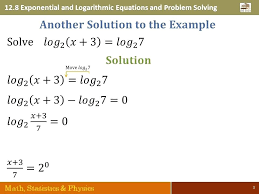 solve logarithmic problems math 3 exponential and logarithmic equations and problem solving math statistics physics 3 solve logarithm math problems