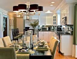Living Dining Room Combo Decorating Astounding Black Shade Chandelier Over Dining Set Decors Also