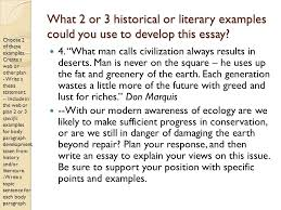 today in the lab review your notes on the sat essay which  what 2 or 3 historical or literary examples could you use to develop this essay