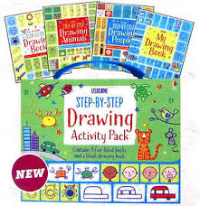 image is loading usborne step by step drawing activity pack by