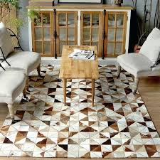 style luxury natural brown color cowhide patchwork rug big size milch cow skin fur triangles carpet cowhide patchwork rug