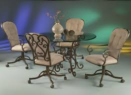 leather dining chairs with casters. Image Of: Dining Room Set Casters Round Table And Chairs From Dania Condo Inside Leather With