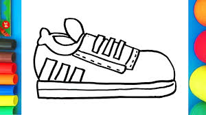 how to draw sneaker shoes easy step by step tutorial coloring book page