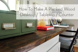 planked wood desktop counter