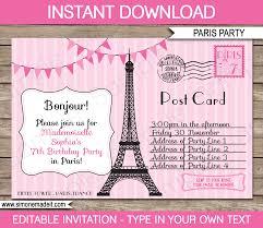 Invitation Information Template Paris Party Invitations Template Postcard To Paris 6