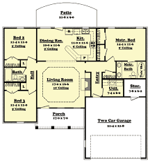 Split Bedroom Ranch House Plan   HZ   st Floor Master Suite    Floor Plan