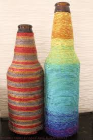 Decorative Bottles Wrapped in Rainbow Yarn