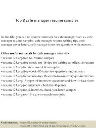 Cafe Attendant Sample Resume Custom Cafe Manager Resume Kenicandlecomfortzone