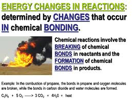 energy changes in reactions determined by changes that occur in chemical bonding