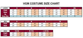 Costume Size Chart Hgm