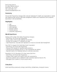 sas resume sample professional clinical sas programmer templates to showcase your