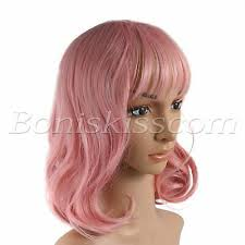 Women's Girls 35CM <b>Short Pink Curly Synthetic</b> Cosplay Costume ...