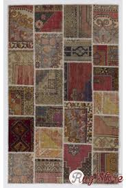 152x245 cm multicolor patchwork rug handmade from recycled vintage oriental rugs