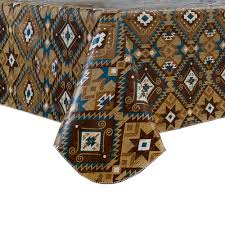 santa fe 70 in multi round single vinyl tablecloth with umbrella hole