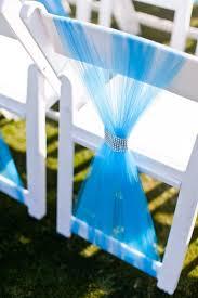 blue tulle wedding chair sash