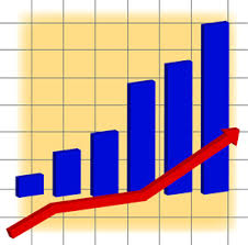 Clip Art Charts And Graphs Chart Clipart Image A Bar Graph And A Red Arrow Showing