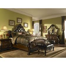 aico michael amini palace gates tufted leather mansion bedroom set