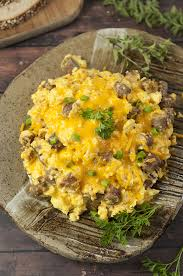 sausage egg and cheese scramble wishes and dishes