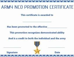 Promotion Certificate Template Army Nco Promotion Certificate Template Certificate Of Excellence