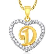 Valentine Gifts Meenaz Gold Plated D Letter Alphabet Heart Pendant Locket With Chain In Ame