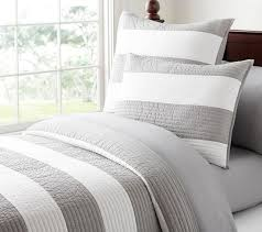 gray and white rugby stripe bedding