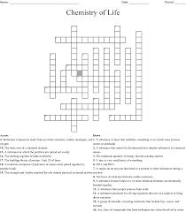 Chemistry Of Life Vocabulary Crossword Wordmint