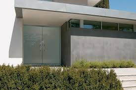 steel glass doors. Glass Doors In ViviChrome Chromis With Seaglass Interlayer And Standard Finish; Also Shown, Cadence Door Pulls Satin Stainless Steel