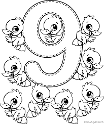 Counting numbers, addition and subtraction worksheets. Number 9 Ducks Coloring Page Coloringall