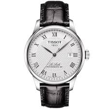 le locle 39mm silver guilloche dial men 039 s leather strap watch
