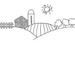 farm clipart black and white. Black And White Cartoon Barn Farm Clipart Image Landscape On Sunny Day Throughout