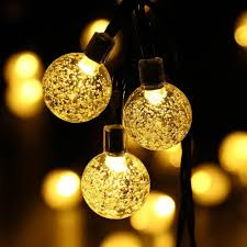 solar outdoor string lights 20ft 30 led warm white crystal ball solar powered globe fairy lights for garden fence path landscape decoration string