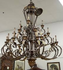 large metal chandelier 22 light with large ceiling plate along with shades ht 68in dia 58in by nadeau s auction gallery bidsquare