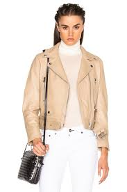 image 1 of acne studios mock leather jacket in beige