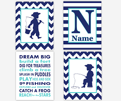 baby boys canvas nursery wall art navy blue teal aqua dream big build a fort fishing boy personalized name canvas prints baby nursery decor on baby boy room decor wall art with baby boys canvas nursery wall art navy blue teal aqua dream big