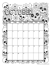 October 2018 Coloring Calendar Page