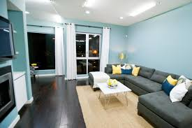 Modern Living Room with Dark Wood Floor and Blue Walls