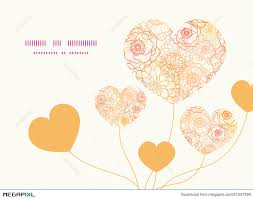 vector warm flowers heart symbol frame pattern