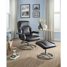 mainstays plush pillowed recliner swivel chair and ottoman set multiple available colors com