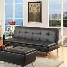black faux leather futon sofa bed