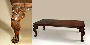 hand carved umber finished gany dining table lion monopod leg and veneer top
