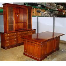 traditional wood executive desk set with hutch